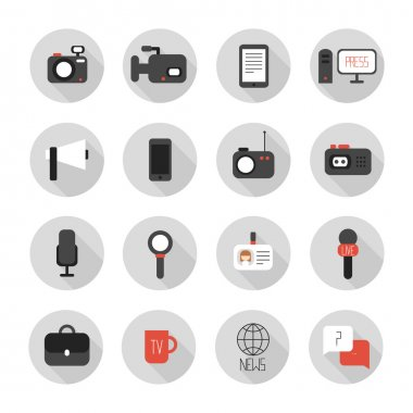 Set of flat colorful vector journalism icons. Mass media. Communication. Illustration consists of computer, news, reporter, camera, microphone, radio. Infographics design web elements.