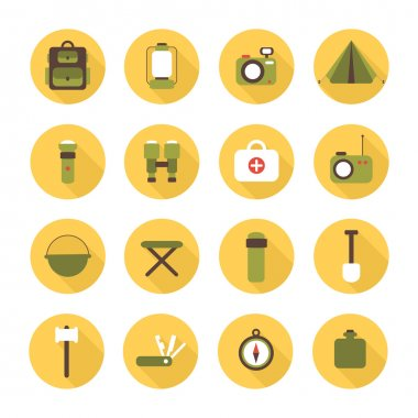 Set of flat colorful vector camping equipment symbols and icons.