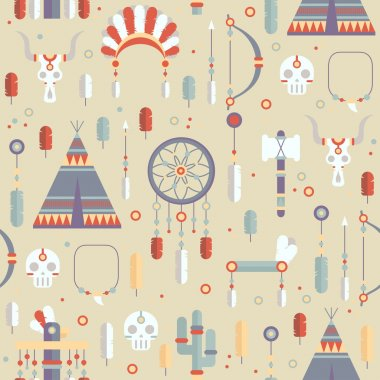 Seamless pattern of vector colorful ethnic set with dream catcher, feathers, arrows and american indian chief headdress in native style. Decorative elements. Tribal native American set of symbols.