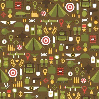 Seamless pattern of flat colorful  military and war icons set. Army infographic design elements. Illustration in flat style.