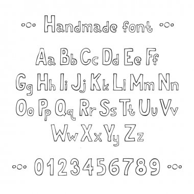 Simple monochrome hand drawn font. Complete abc alphabet set. Vector letters and numbers. Doodle typographic symbols.