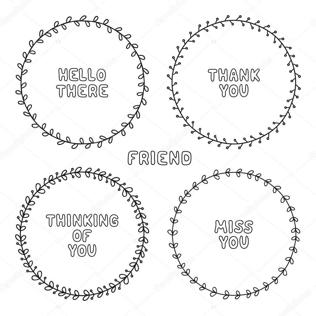 Vector set of hand drawn style badges and elements. Doodle frames ...
