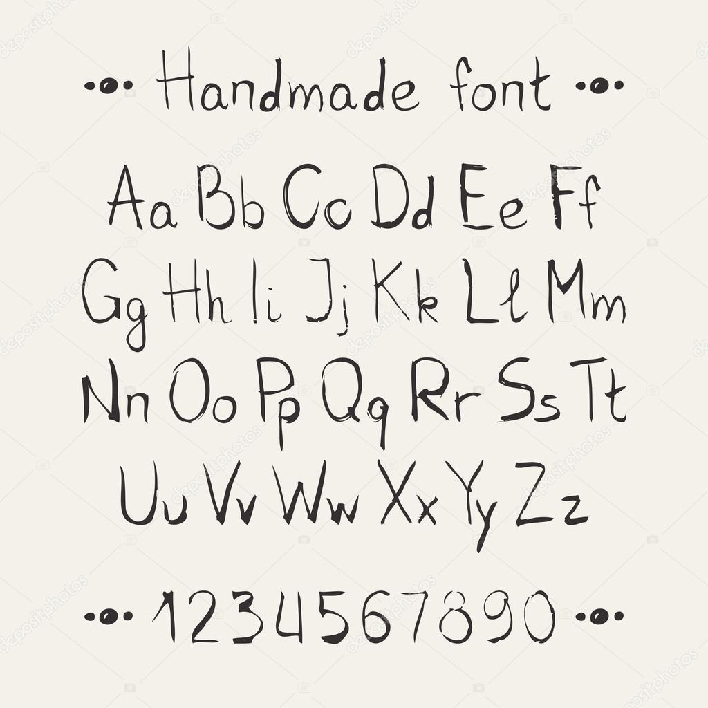Simple monochrome hand drawn font. Complete abc alphabet ...