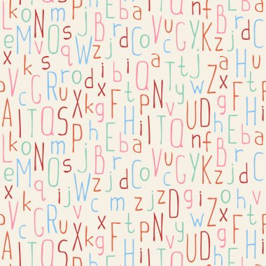 Vector seamless pattern of colorful hand drawn font. Beautiful simple letters background. Doodle typographic symbols.