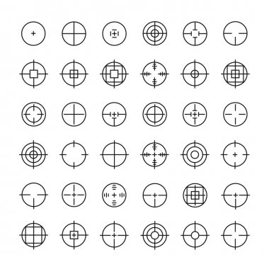 Set of different flat vector crosshair sign icons. Line simple symbols. Target aim symbol. Circles and rounded squares buttons.