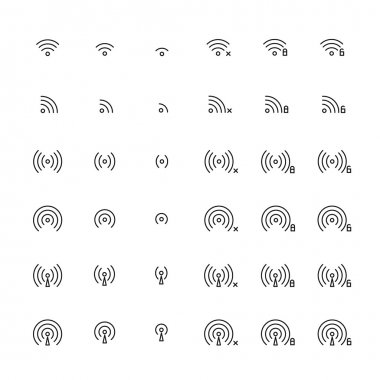 Set of different flat vector wi-fi and wireless icons for communicate using radio waves, remote access, wireless. Wi-fi zone sign. Line simple communication symbols.
