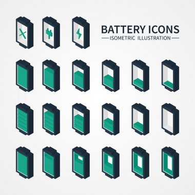 Battery web icons, symbol, sign and design elements in isometric style. Charge level indicators. Vector illustration.