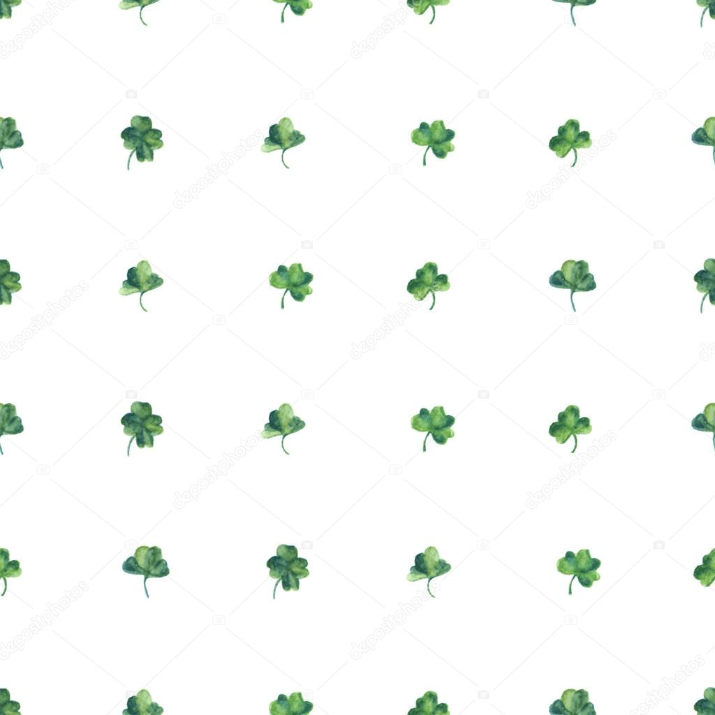 Seamless watercolor background with green clover leaves for Saint Patrick day. Vector illustration. Wallpaper for good luck.