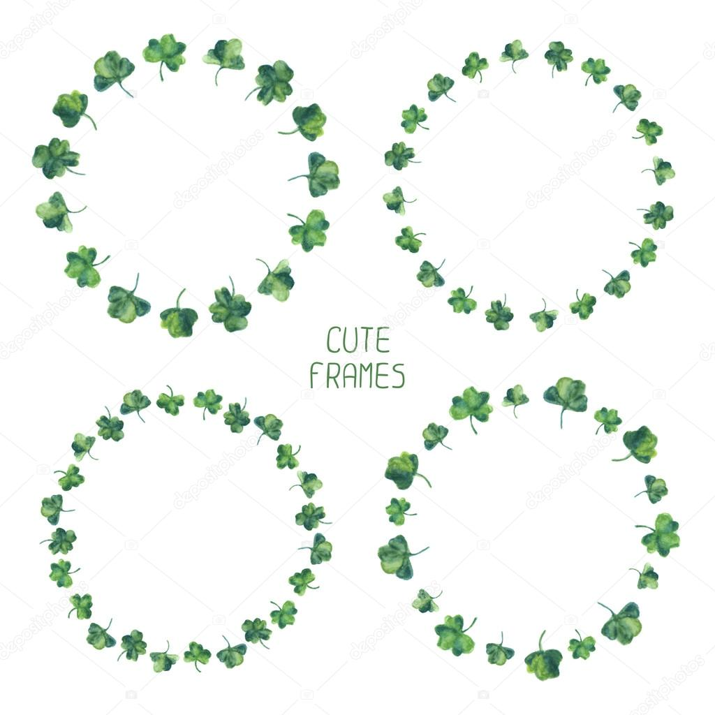 Frame set of watercolor green clover leaves for Saint Patrick day. Vector illustration. Background for good luck.