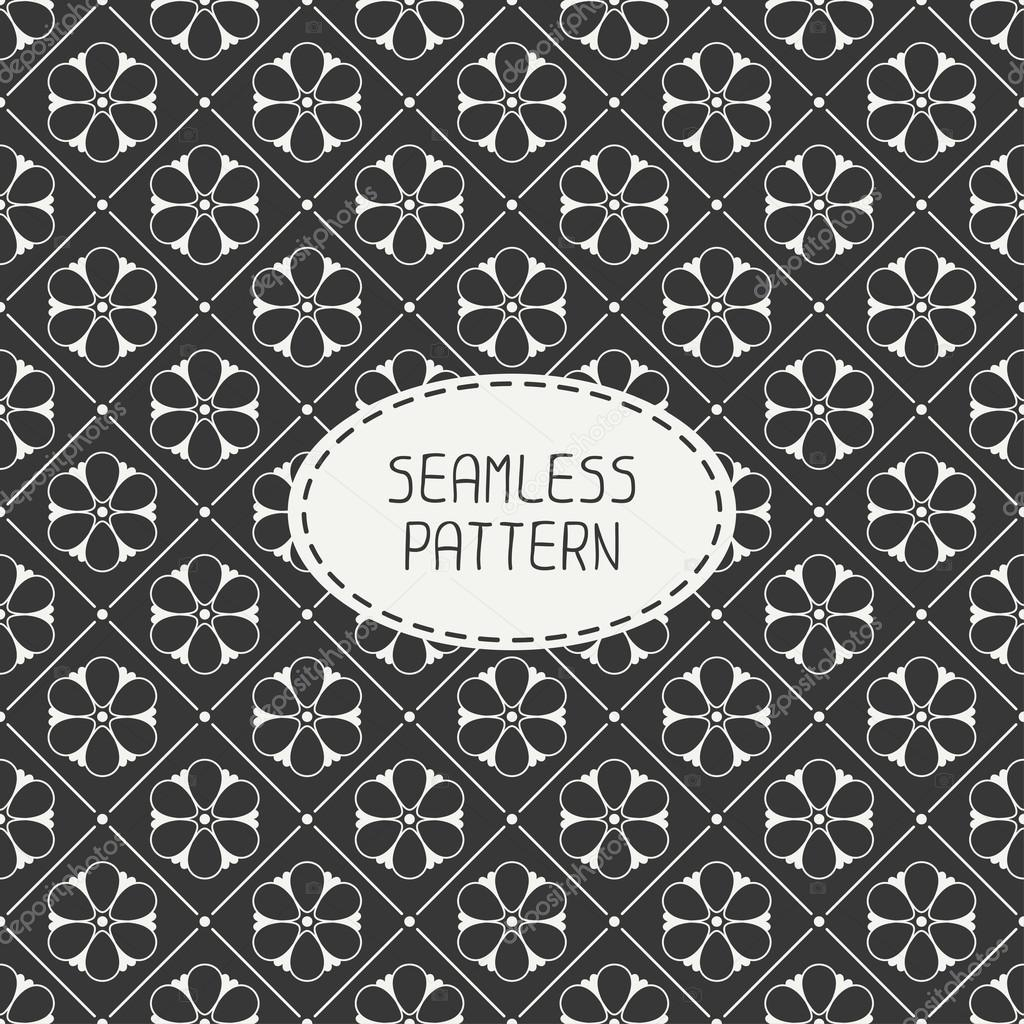 Vector seamless retro vintage hipster line pattern with flowers. For wallpaper, pattern fills, web page background, blog. Stylish texture.