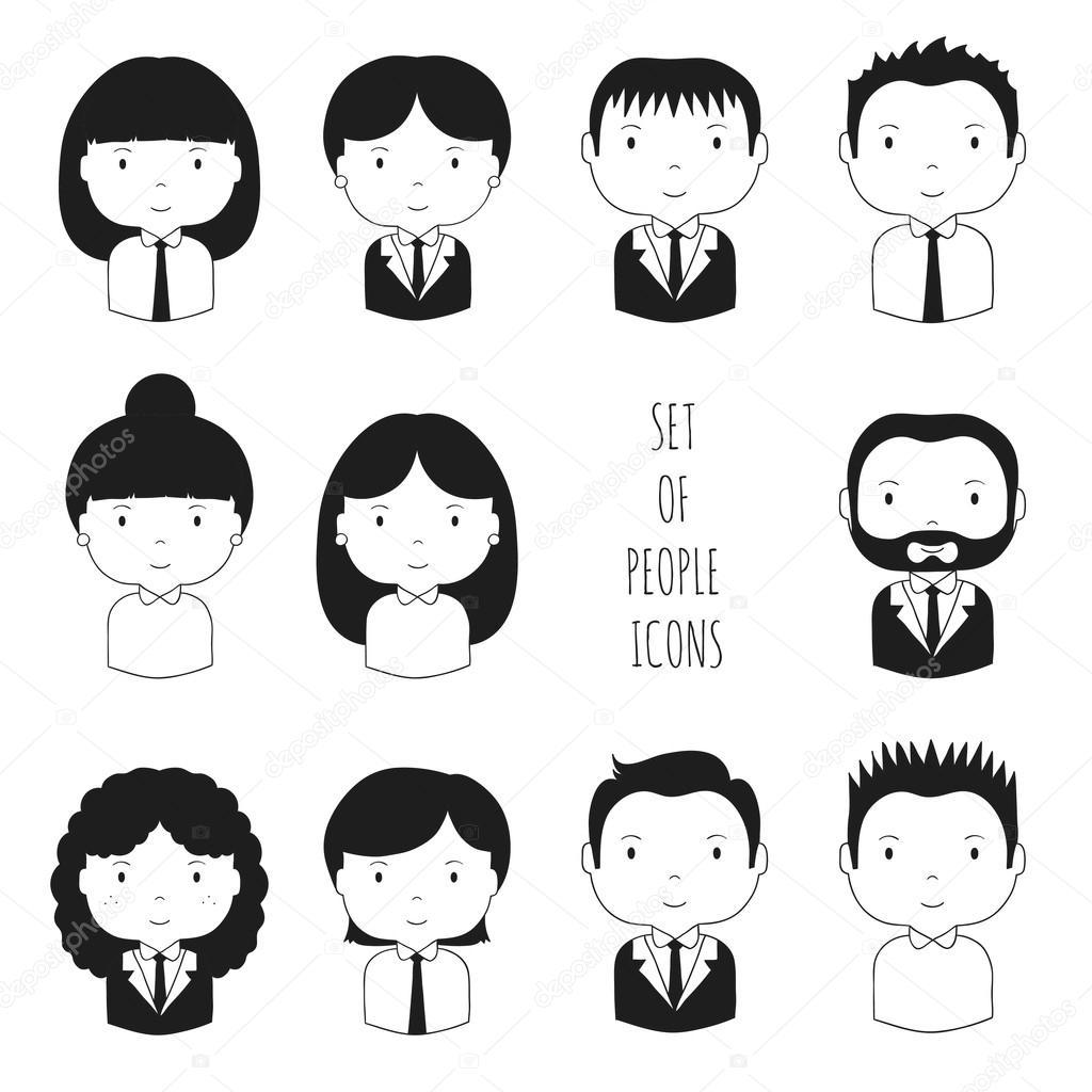 0fa7c1c1899d Silueta de caras | Conjunto de iconos de silueta oficina personas ...