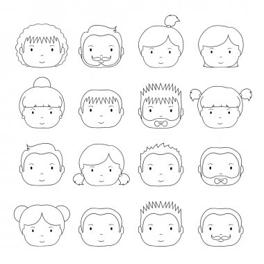 Set of line silhouette office people icons. Businessman. Businesswoman. Cartoon hand drawn faces sketch pictogram for your design. Collection of avatar. Trendy doodle style. Vector illustration.