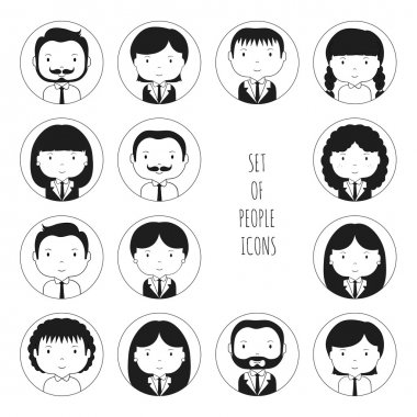Set of monochrome silhouette office people icons. Businessman. Businesswoman. Cartoon hand drawn faces sketch pictogram for your design. Collection of avatar. Trendy doodle style. Vector illustration.