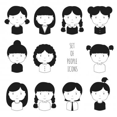 Set of monochrome female faces icons. Funny cartoon hand drawn faces sketch pictogram for your design. Collection of cute woman avatar. Businesswoman. Trendy doodle style. Vector illustration.