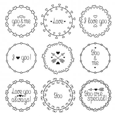 Hand drawn frame of romantic pattern with hearts. Trendy doodle style. Vector set of valentines day vintage design elements. Beautiful simple lettering.