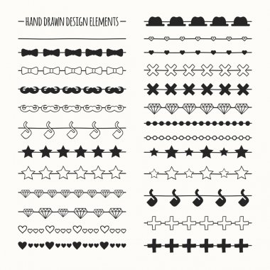 Hand drawn vector line border set and scribble design element. Hipster vintage fashion pattern with mustache. Illustration. Trendy doodle style brushes.