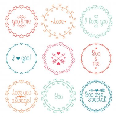 Hand drawn frame of romantic pattern with hearts. Trendy doodle style. Vector set of valentine day vintage design elements. Beautiful simple lettering.
