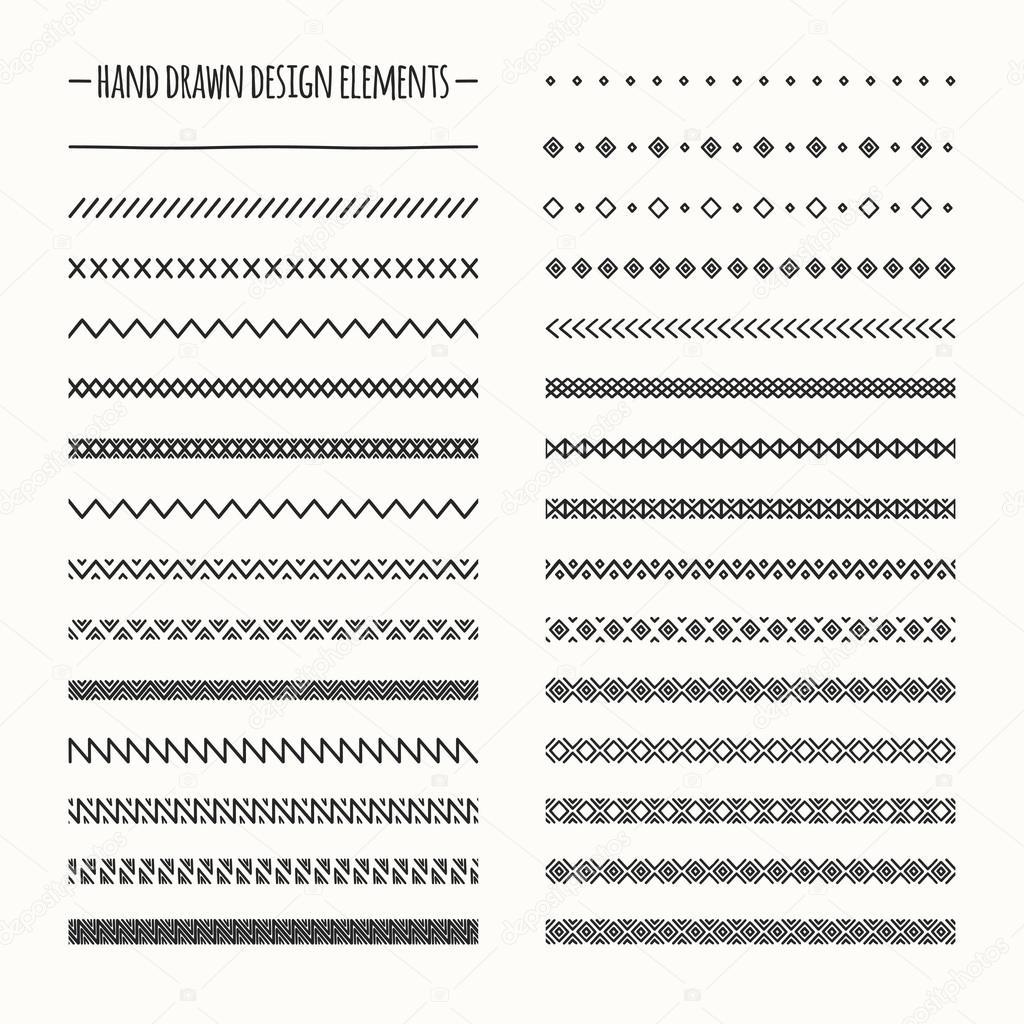 手描きベクトル線枠セットおよびフリーハンド デザイン要素です。幾何学
