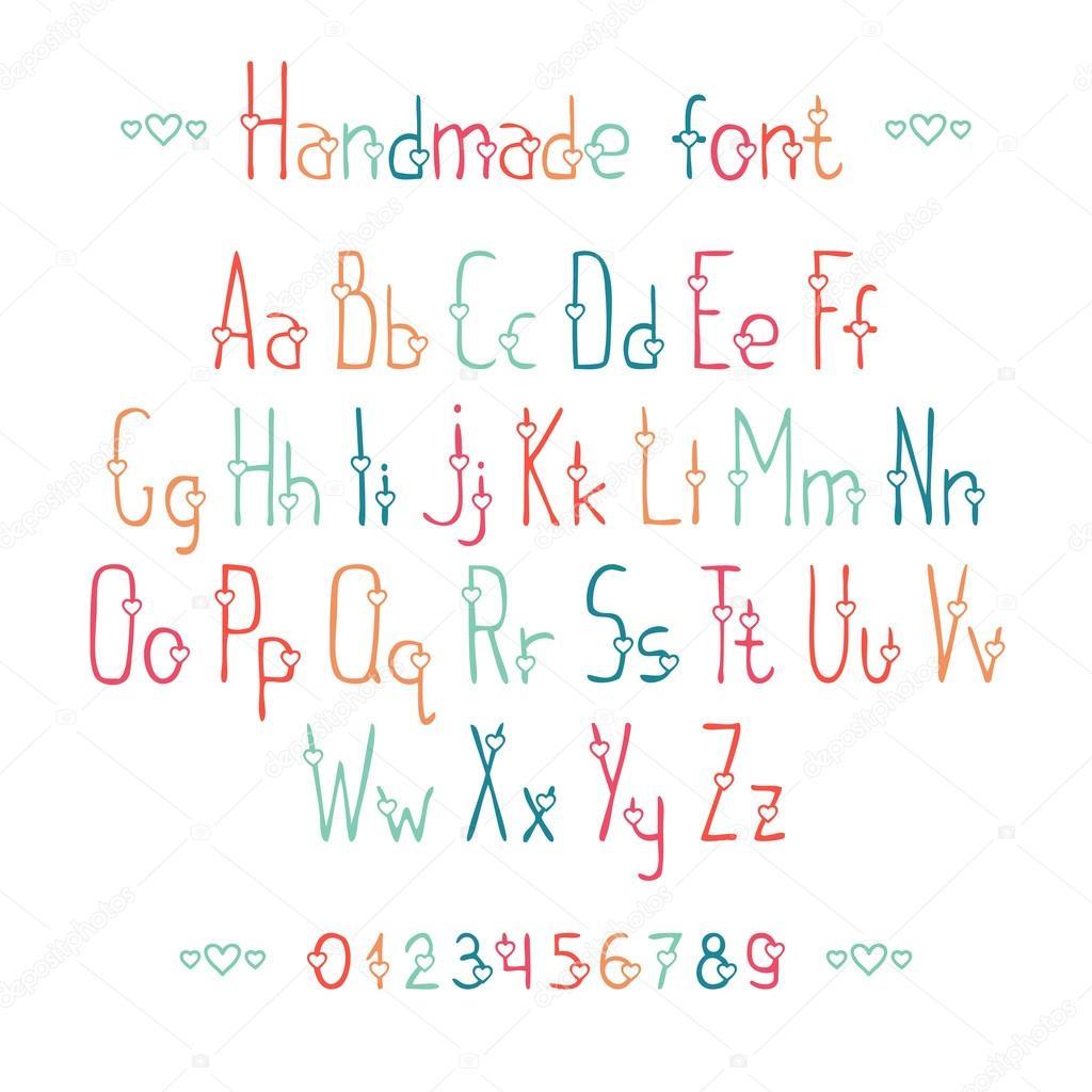 Einfache romantische Hand gezeichnete Schrift mit Herz. Abc Alphabet ...