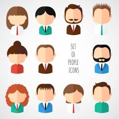 Set of colorful office people icons. Businessman. Businesswoman. Man. Woman. Trendy flat style. Funny cartoon faces characters for your design. Collection of cute avatar. Vector illustration.
