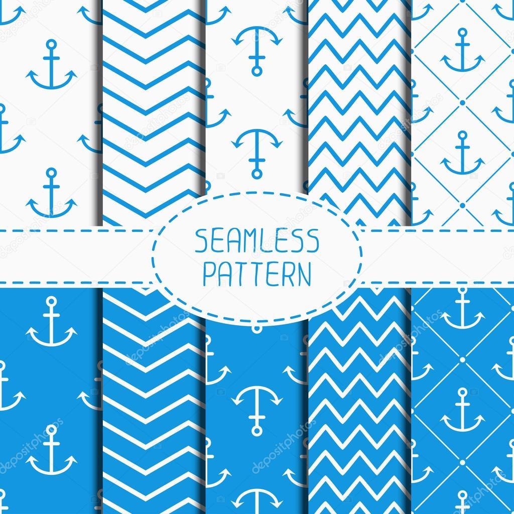 Jeu De Bleu Marine Motif Sans Couture Avec Ancre Papier D Emballage