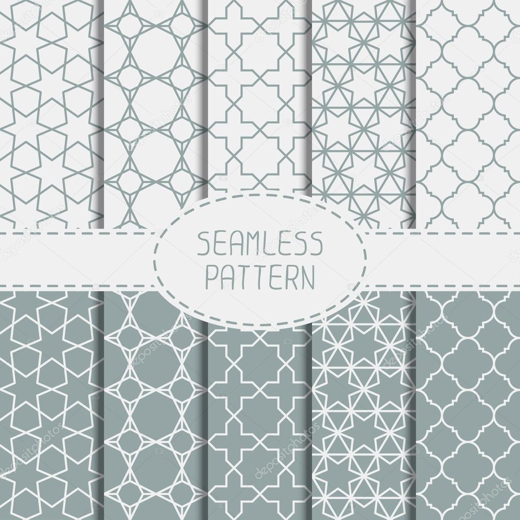 Set of geometric line lattice seamless arabic pattern. Islamic oriental style. Collection of wrapping paper. Scrapbook paper. Vector illustration. Moroccan background. Swatches. Graphic texture.