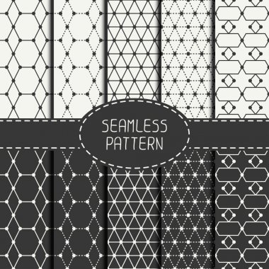 Set of geometric abstract seamless polygon pattern. Wrapping paper. Paper for scrapbook. Tiling. Vector illustration. Background. Graphic texture. Optical illusion effect for design.