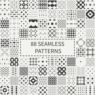 Mega set of 88 monochrome geometric universal different seamless decorative patterns. Wrapping paper. Scrapbook paper. Tiling. Vector backgrounds collection. Endless graphic texture ornaments for
