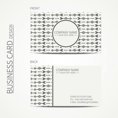 Geometric monochrome business card template with ethnic arrows for your design. Tribal native business card. Trendy calling card. Vector design.