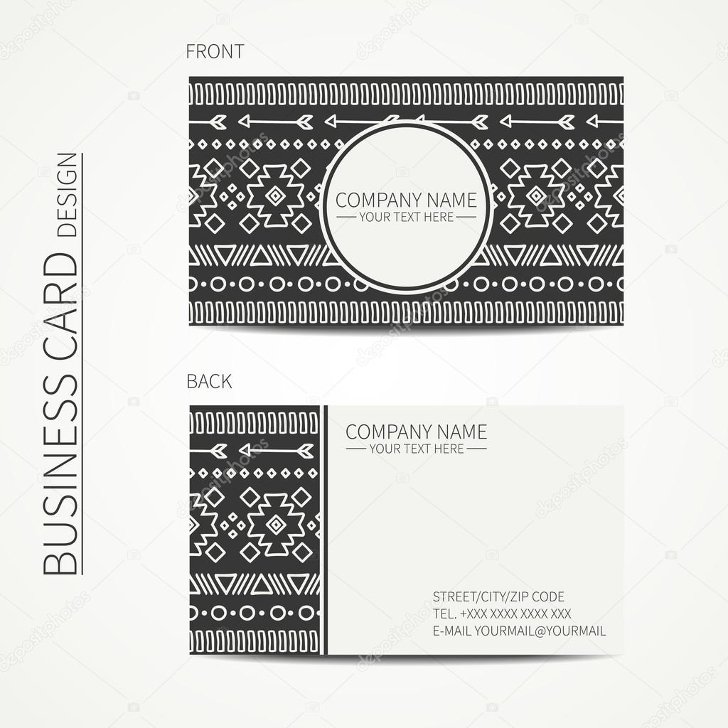 Geometric monochrome business card template with ethnic pattern for ...