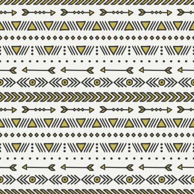 Hand drawn gold geometric ethnic seamless pattern. Wrapping paper. Scrapbook paper. Doodles style. Tiling. Tribal native vector illustration. Aztec background. Stylish ink graphic texture for design.