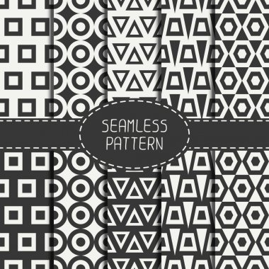 Set of line polygon abstract hipster seamless pattern. Geometric figures, shape, form. Wrapping paper. Scrapbook paper. Tiling. Vector illustration. Background. Graphic texture for design, wallpaper.