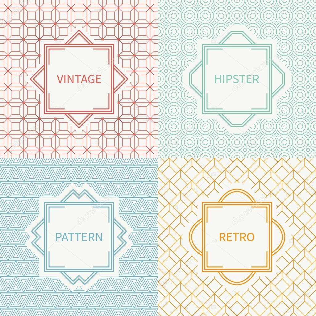 Conjunto de mono línea polígono hipster de patrones sin fisuras ...