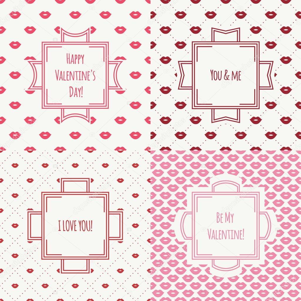 Conjunto de patrones sin fisuras de labios rojo, rosa romántico beso ...