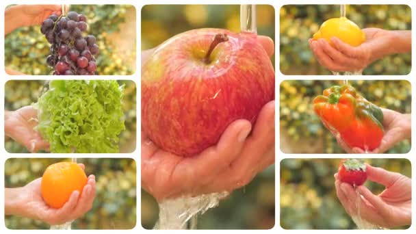 Diverse fruits and vegetables under pouring water montage