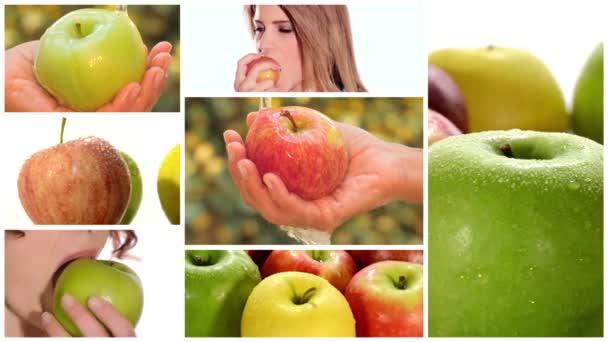 Apple montáž včetně ovoce a zdravé mladé ženy