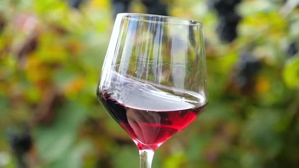 mano tremante un bicchiere riempito a metà con vino rosso di rallentatore
