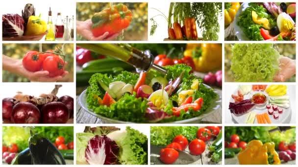 Rozmanité zelenina a salát fotomontáž