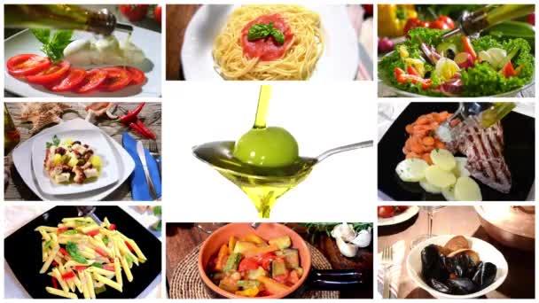 Olivový olej na středomořskou kuchyni, koláž