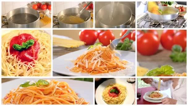 Vaření a stravování italské špagety fotomontáž