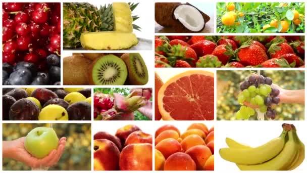 A különböző gyümölcsök, montázs közelről