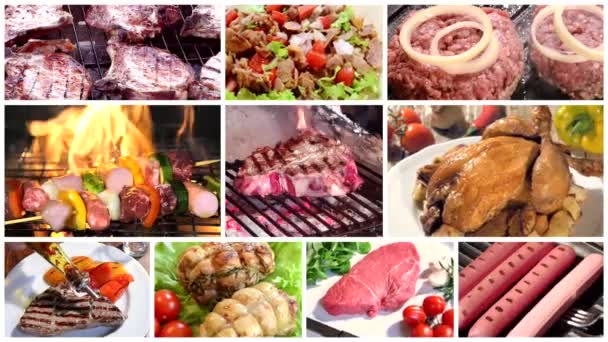 Různé druhy masa, fotomontáž