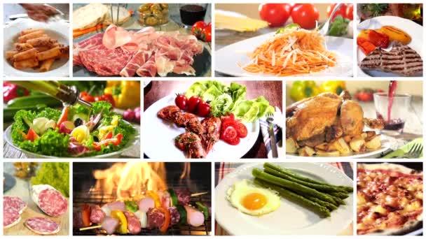 Různé recepty na lahodné jídlo koláž