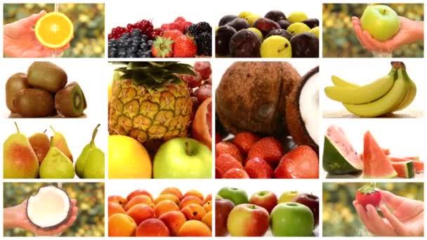 Zblízka rozmanité ovoce, fotomontáž