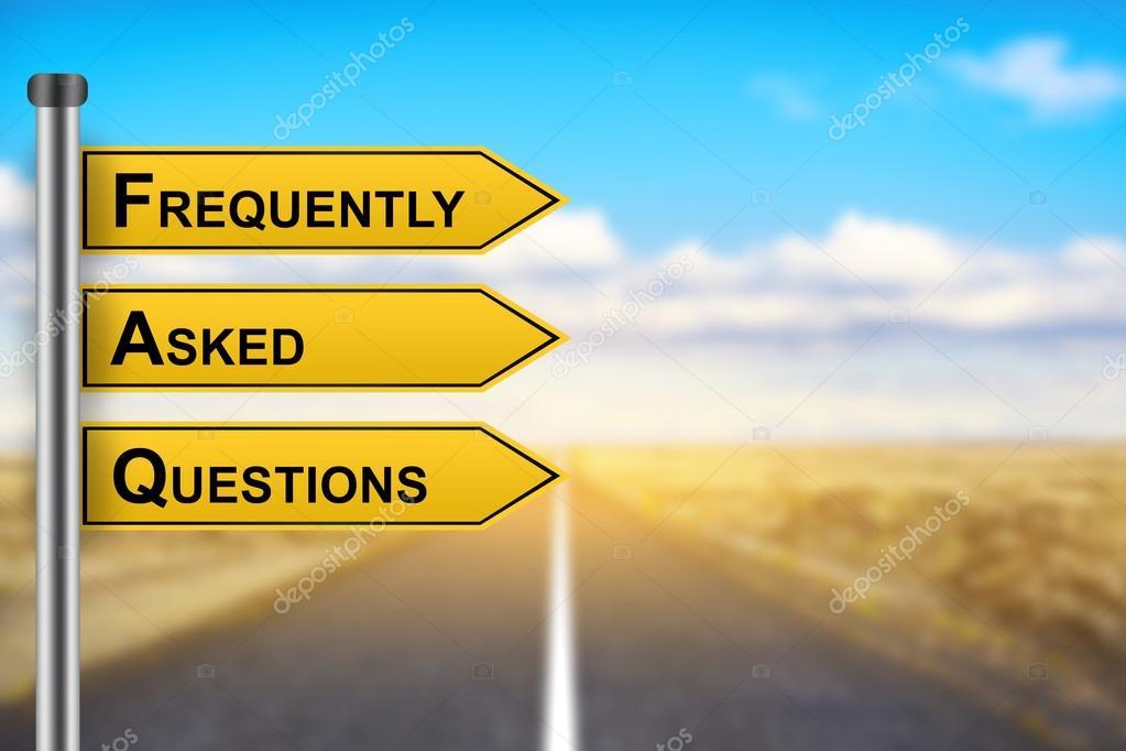 Faq o domande frequenti parole sul segnale stradale giallo u foto