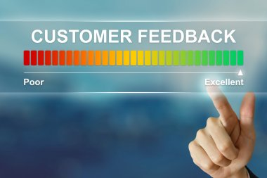 business hand clicking excellent customer feedback