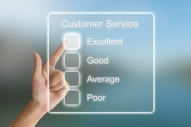 hand pushing customer service on virtual screen