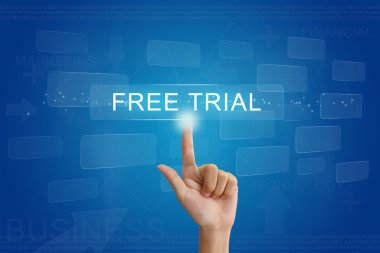 hand press on free trial button on touch screen