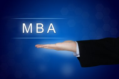 MBA or Master of Business Administration button on blue backgrou