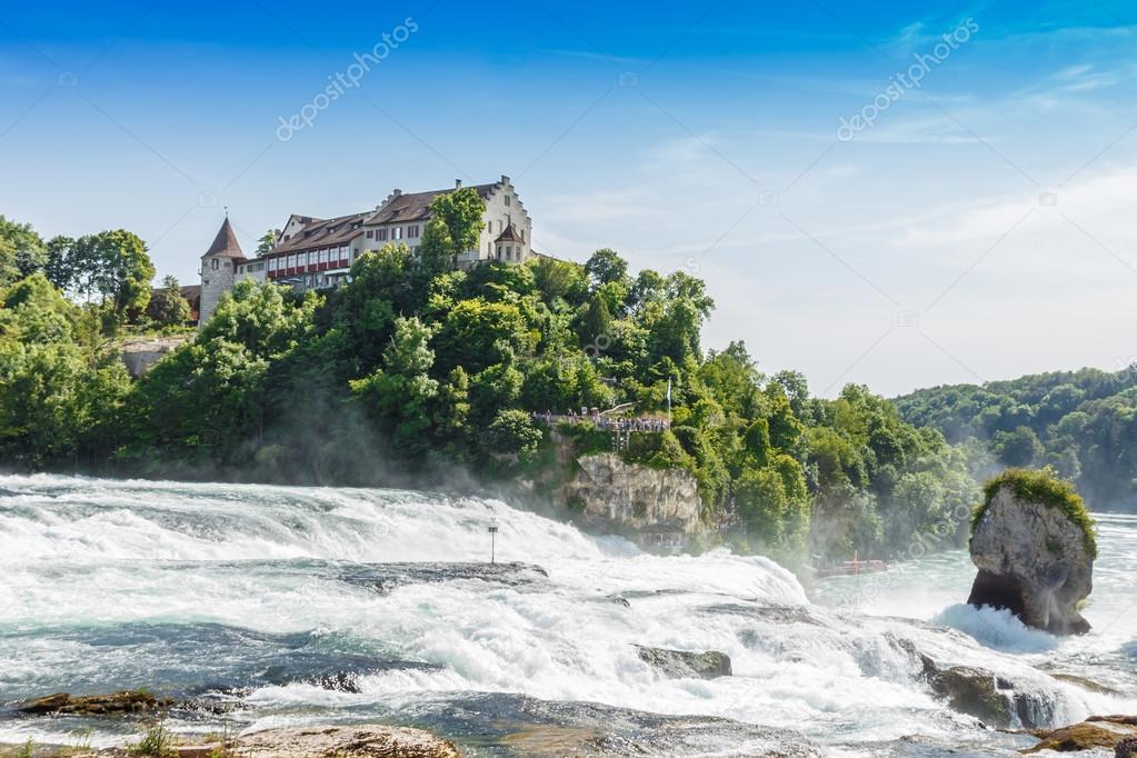 Waterval Rijn Zwitserland.Rheinfall Waterval Van De Rivier Rijn Op Neuhausen